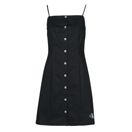 vaatteet Naiset Lyhyt mekko Calvin Klein Jeans COTTON TWILL BUTTON DRESS Musta