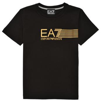 vaatteet Pojat Lyhythihainen t-paita Emporio Armani EA7 3KBT54-BJ02Z-1200 Musta / Kulta