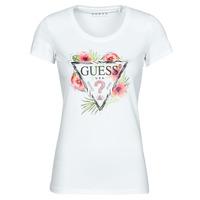 vaatteet Naiset Lyhythihainen t-paita Guess SS CN REBECCA TEE Valkoinen / Monivärinen