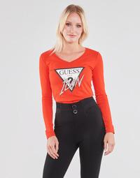 vaatteet Naiset T-paidat pitkillä hihoilla Guess LS VN ICON TEE Punainen