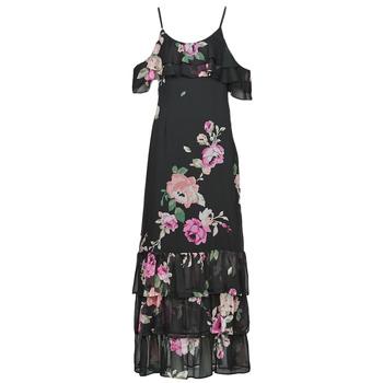 vaatteet Naiset Pitkä mekko Guess AGATHE DRESS Musta / Monivärinen