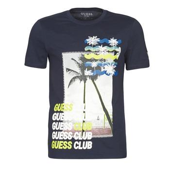 vaatteet Miehet Lyhythihainen t-paita Guess GUESS CLUB CN SS TEE Laivastonsininen