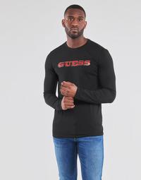 vaatteet Miehet T-paidat pitkillä hihoilla Guess GUESS PROMO CN LS TEE Musta