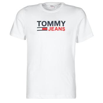 vaatteet Miehet Lyhythihainen t-paita Tommy Jeans TJM CORP LOGO TEE Valkoinen