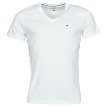 vaatteet Miehet Lyhythihainen t-paita Tommy Jeans TJM ORIGINAL JERSEY TEE V NECK Valkoinen