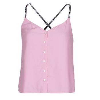 vaatteet Naiset Topit / Puserot Tommy Jeans TJW CAMI TOP BUTTON THRU Vaaleanpunainen