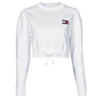 vaatteet Naiset Svetari Tommy Jeans TJW SUPER CROPPED BADGE CREW Valkoinen