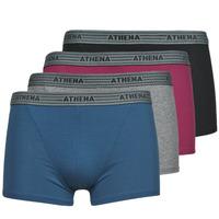 Alusvaatteet Miehet Bokserit Athena BASIC COTON  X4 Harmaa / Viininpunainen / Sininen / Musta