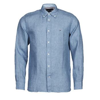 vaatteet Miehet Pitkähihainen paitapusero Tommy Hilfiger PIGMENT DYED LINEN SHIRT Sininen