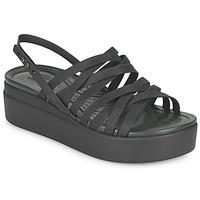 kengät Naiset Sandaalit ja avokkaat Crocs CROCS BROOKLYN STRAPPY LOWWDGW Musta