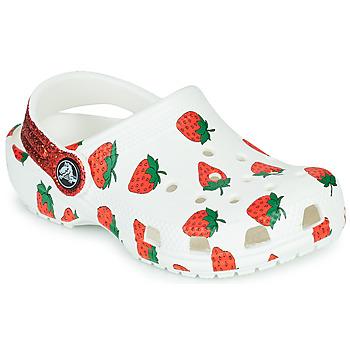 kengät Tytöt Puukengät Crocs CLASSIC FOOD PRINT CLOG K Valkoinen / Vaaleanpunainen