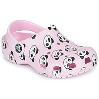 kengät Tytöt Puukengät Crocs CLASSIC PANDA PRINT CLOG K Vaaleanpunainen