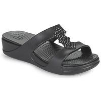 kengät Naiset Sandaalit Crocs CROCSMONTEREYSHIMMERSLPONWDG W Musta