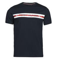vaatteet Miehet Lyhythihainen t-paita Tommy Hilfiger CN SS TEE LOGO Laivastonsininen
