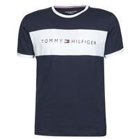 vaatteet Miehet Lyhythihainen t-paita Tommy Hilfiger CN SS TEE LOGO FLAG Laivastonsininen / Valkoinen