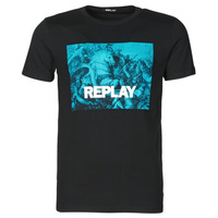 vaatteet Miehet Lyhythihainen t-paita Replay M3412-2660 Musta / Sininen