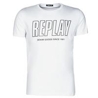 vaatteet Miehet Lyhythihainen t-paita Replay  Valkoinen