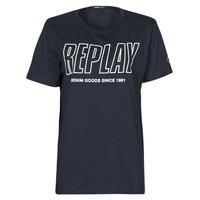 vaatteet Miehet Lyhythihainen t-paita Replay  Laivastonsininen
