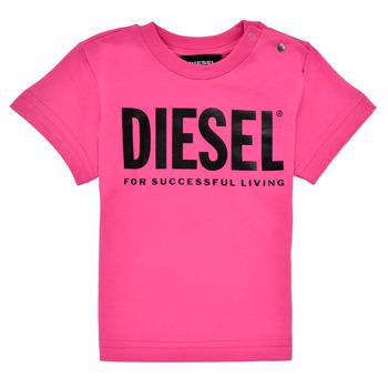 vaatteet Tytöt Lyhythihainen t-paita Diesel TJUSTLOGOB Vaaleanpunainen