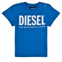 vaatteet Pojat Lyhythihainen t-paita Diesel TJUSTLOGOB Sininen