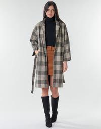 vaatteet Naiset Paksu takki Betty London NIOULOOK Musta / Beige