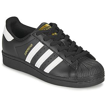 kengät Lapset Matalavartiset tennarit adidas Originals SUPERSTAR J Musta / Valkoinen