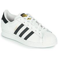 kengät Lapset Matalavartiset tennarit adidas Originals SUPERSTAR J Valkoinen / Musta