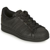 kengät Lapset Matalavartiset tennarit adidas Originals SUPERSTAR J Musta