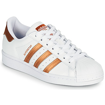 kengät Naiset Matalavartiset tennarit adidas Originals SUPERSTAR W Valkoinen / Pronssi