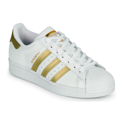 kengät Naiset Matalavartiset tennarit adidas Originals SUPERSTAR W Valkoinen / Kulta