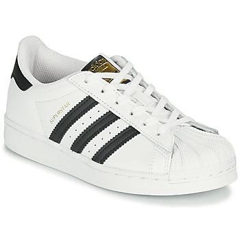 kengät Lapset Matalavartiset tennarit adidas Originals SUPERSTAR C Valkoinen / Musta