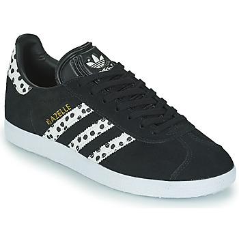 kengät Naiset Matalavartiset tennarit adidas Originals GAZELLE W Musta / Valkoinen