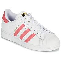 kengät Naiset Matalavartiset tennarit adidas Originals SUPERSTAR W Valkoinen / Pink