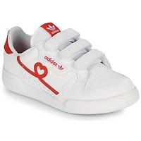 kengät Tytöt Matalavartiset tennarit adidas Originals CONTINENTAL 80 CF C Valkoinen / Punainen