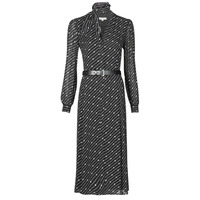 vaatteet Naiset Pitkä mekko MICHAEL Michael Kors CIRCLE LOGO SHRT DRS Musta / Valkoinen