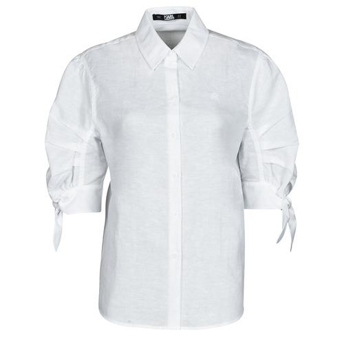 vaatteet Naiset Paitapusero / Kauluspaita Karl Lagerfeld LINENSHIRTW/BOWS Valkoinen