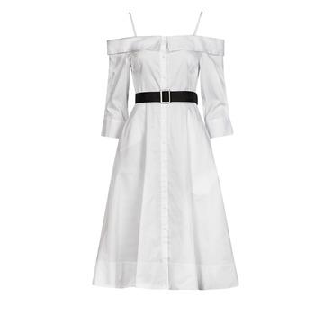 vaatteet Naiset Pitkä mekko Karl Lagerfeld COLDSHOULDERSHIRTDRESS Valkoinen