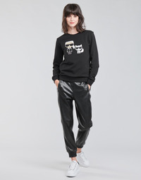 vaatteet Naiset 5-taskuiset housut Karl Lagerfeld FAUXLEATHERJOGGERS Musta