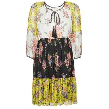 vaatteet Naiset Lyhyt mekko Derhy SARDAIGNE Musta / Valkoinen / Keltainen