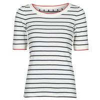 vaatteet Naiset Lyhythihainen t-paita Esprit RAYURES COL ROUGE Valkoinen