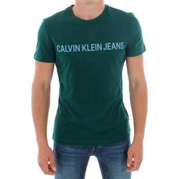 vaatteet Miehet Lyhythihainen t-paita Calvin Klein Jeans J30J307856 383 GREEN Verde oscuro