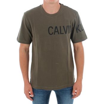 vaatteet Miehet Lyhythihainen t-paita Calvin Klein Jeans J30J313258 LFH GRAPE LEAF Verde