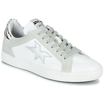 kengät Naiset Matalavartiset tennarit Meline KUC256 Valkoinen / Hopea / Oliivi / keltainen