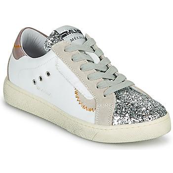 kengät Naiset Matalavartiset tennarit Meline CAR139 Valkoinen / Glitter