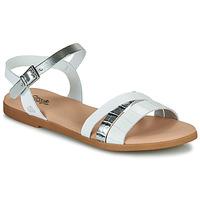 kengät Tytöt Sandaalit ja avokkaat Citrouille et Compagnie OBINOU White / Hopea