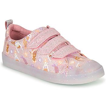 kengät Tytöt Matalavartiset tennarit Clarks FOXING PRINT T Vaaleanpunainen