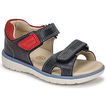 kengät Pojat Sandaalit ja avokkaat Clarks ROAM SURF K Laivastonsininen / Punainen