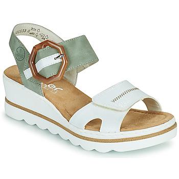 kengät Naiset Sandaalit ja avokkaat Rieker SOLLA Vihreä / Valkoinen