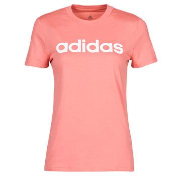 vaatteet Naiset Lyhythihainen t-paita adidas Performance W LIN T Vaaleanpunainen