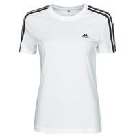 vaatteet Naiset Lyhythihainen t-paita adidas Performance W 3S T Valkoinen